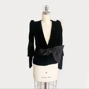Zara XS Velvet Blazer with Overaized Bow